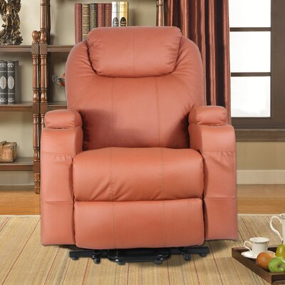 Power Heated Vibrating Massage Recliner 3 Position Lift Chair Finish: Orange