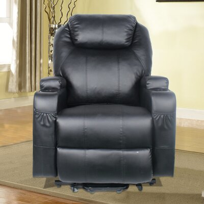 Power Heated Vibrating Massage Recliner 3 Position Lift Chair Finish: Black