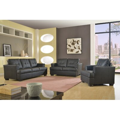 Granda 3 Piece Living Room Set Color: Black