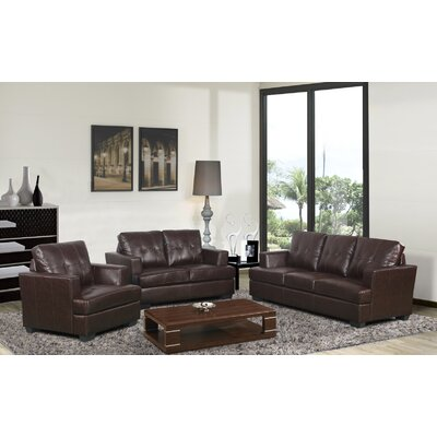 Granda Modern 3 Piece Sofa Set Color: Brown