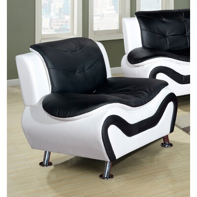 Heton Slipper Chair Color: Black/White