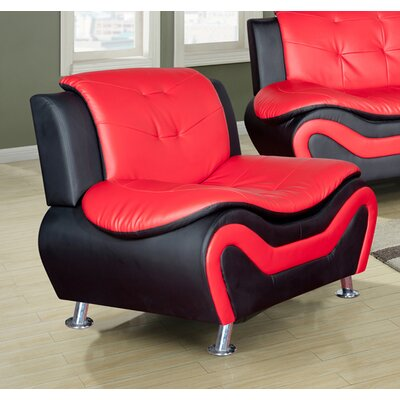 Heton Slipper Chair Upholstery: Black/Red