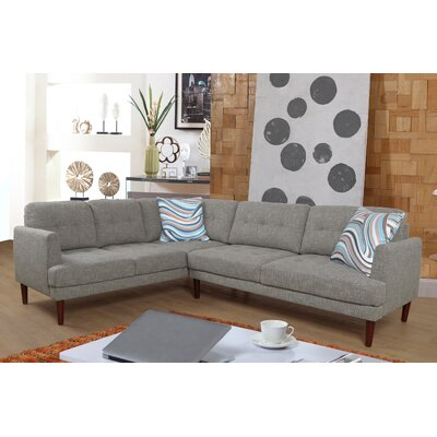 Sectional Upholstery: Linen Gray, Orientation: Left Hand Facing