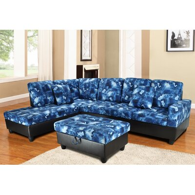 Niantic Sectional with Ottoman Upholstery: Blue, Orientation: Left Hand Facing