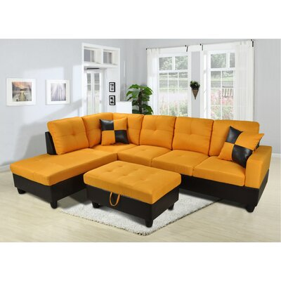 Falmouth Sectional Orientation: Left Hand Facing, Upholstery: Orange