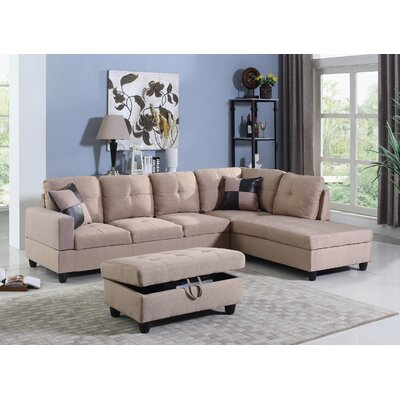 Niantic Sectional with Ottoman Upholstery: Beige, Orientation: Right Hand Facing