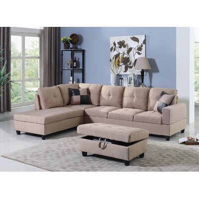 Falmouth Sectional Upholstery: Beige, Orientation: Left Hand Facing