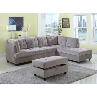 Farley Sectional with Ottoman Color: Beige, Orientation: Right Hand Facing