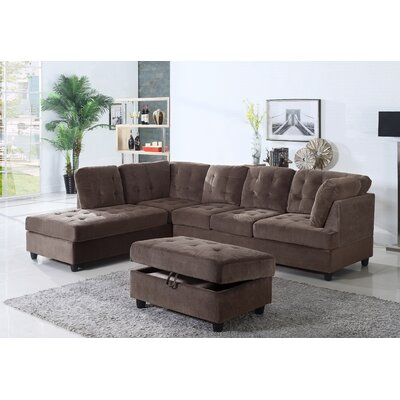 Farley Sectional Color: Espresso, Orientation: Left Hand Facing