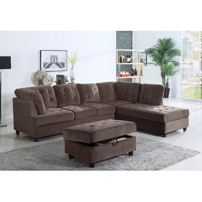 Farley Sectional with Ottoman Color: Espresso, Orientation: Right Hand Facing