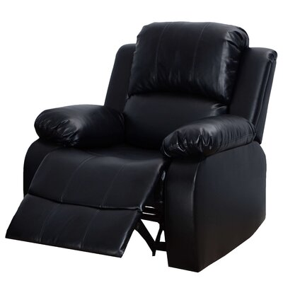 Modena Faux Leather Recliner Color: Black
