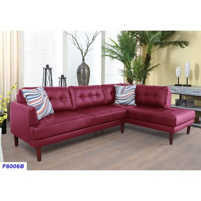Byron Sectional Upholstery: Cherry Red, Orientation: Left Hand Facing