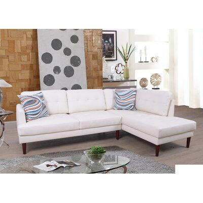 Byron Sectional Orientation: Left Hand Facing, Upholstery: White