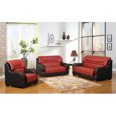 Cahlil Leather 3 Piece Living Room Set Upholstery: Red