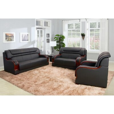 Cahlil 3 Piece Leather Living Room Set Upholstery: Black