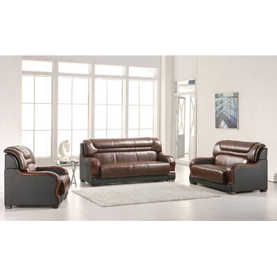 Cahlil Leather 3 Piece Living Room Set Upholstery: Brown