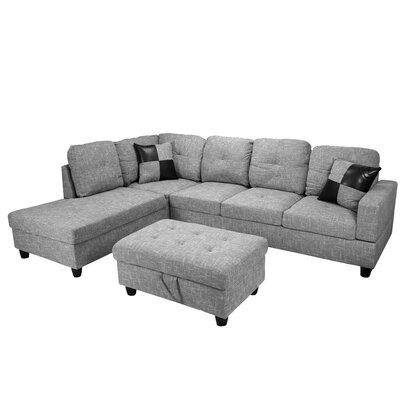 Mauzy Left Facing Sectional with Ottoman Upholstery: Light Grey