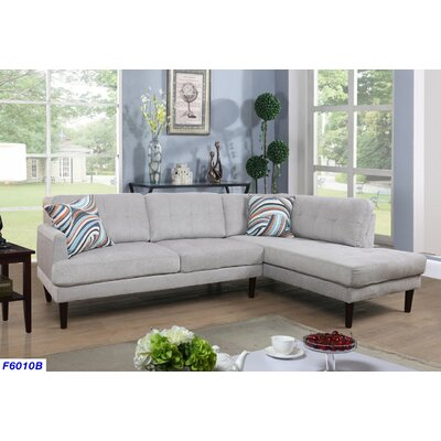 Sectional Upholstery: Light Gray, Orientation: Right Hand Facing