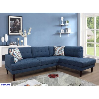 Sectional Upholstery: Ocean Blue, Orientation: Right Hand Facing