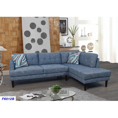 Sectional Upholstery: Blue Jeans, Orientation: Right Hand Facing