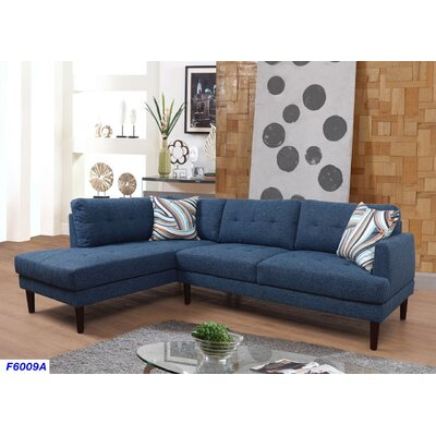 Sectional Upholstery: Ocean Blue, Orientation: Left Hand Facing