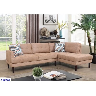 Sectional Upholstery: Light Orange, Orientation: Right Hand Facing