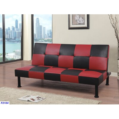 Moorhead Convertible Sofa Upholstery: Black/Red