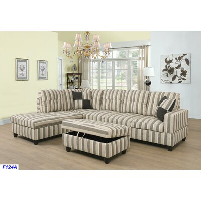 Mauzy Left Facing Sectional with Ottoman Upholstery: Brown Multi Color