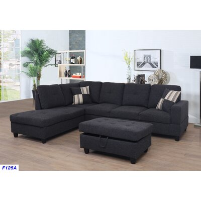 Mauzy Left Facing Sectional with Ottoman Upholstery: Midnight Grey