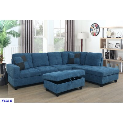 Mendoza Sectional with Ottoman Upholstery: Sky Blue