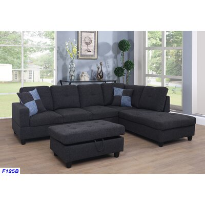 Mendoza Sectional with Ottoman Upholstery: Midnight Gray