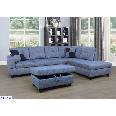 Mendoza Sectional with Ottoman Upholstery: Blue Jeans