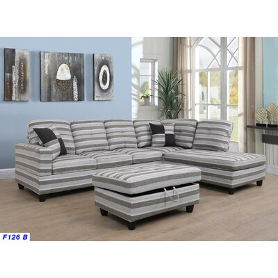 Mendoza Sectional with Ottoman Upholstery: Gray/Beige