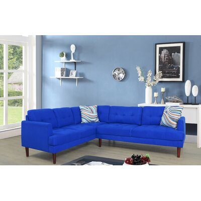 Dahlke Sectional Upholstery: Lint Royal Blue, Orientation: Left Hand Facing