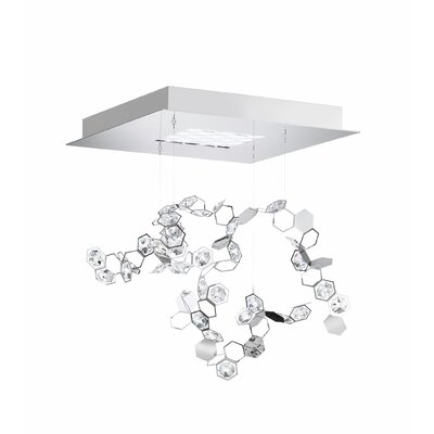 Crystalon 4-Light LED Kitchen Island Pendant Crystal: Mixed Clear/Aurora Borealis, Color Temperature: 3000K