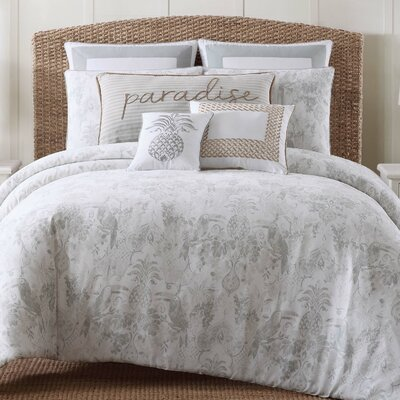 Amabilia 3 Piece Gray/White Duvet Set Size: King