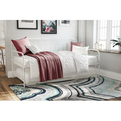 Bright Pop Metal Daybed with Trundle Color: White