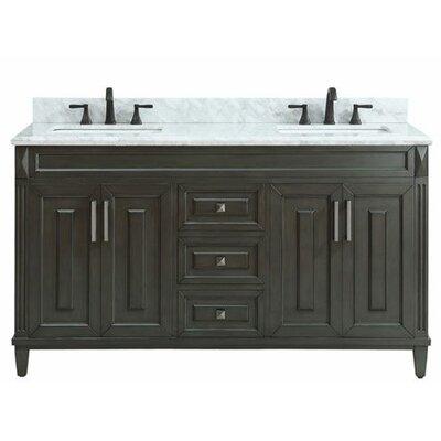 Potvin Marble Top 61 Double Bathroom Vanity Set