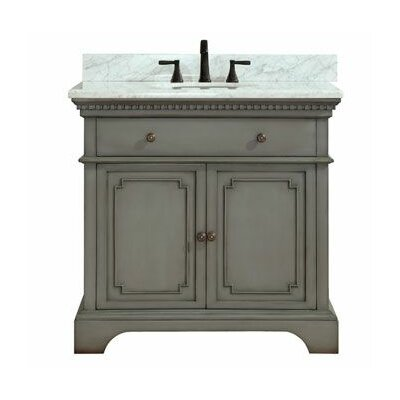 Ruthann Marble Top 37 Single Bathroom Vanity Set Base Finish: French Gray