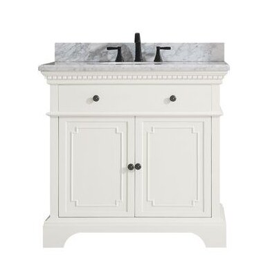 Ruthann Marble Top 37 Single Bathroom Vanity Set Base Finish: French White