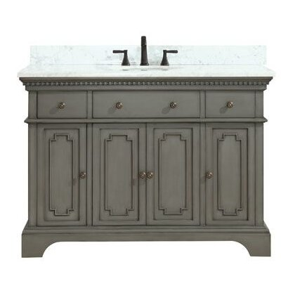 Ruthann Marble Top 49 Single Bathroom Vanity Set Base Finish: French Gray