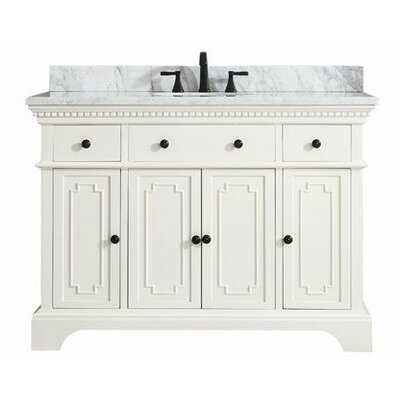 Ruthann Marble Top 49 Single Bathroom Vanity Set Base Finish: French White