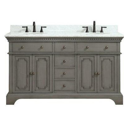Ruthann Marble Top 61 Double Bathroom Vanity Set Base Finish: French Gray