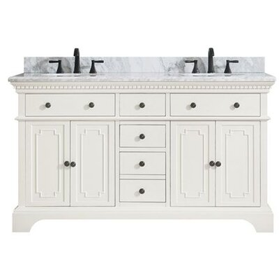Ruthann Marble Top 61 Double Bathroom Vanity Set Base Finish: French White