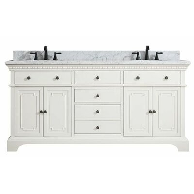 Ruthann Marble Top 73 Double Bathroom Vanity Set Base Finish: French White