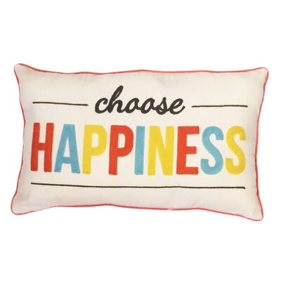 Choose Happiness Cotton Lumbar Pillow