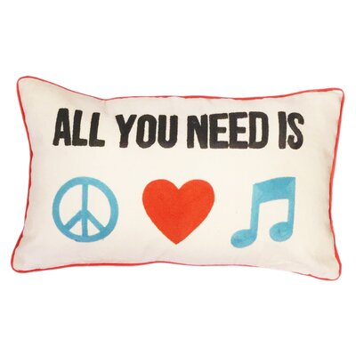 Peace Love Music Cotton Lumbar Pillow
