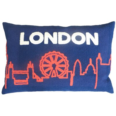 Embroidered London Skyline 100% Cotton Lumbar Pillow