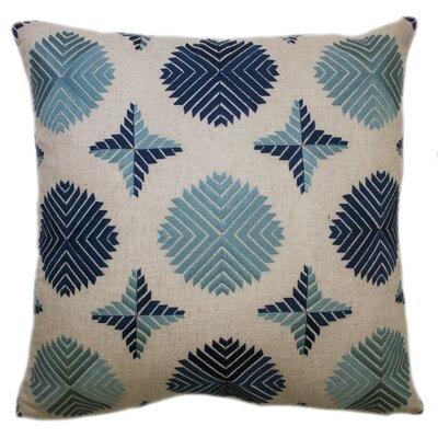 Geo Satin Stitch Embroidered Decorative Throw Pillow Color: Marine