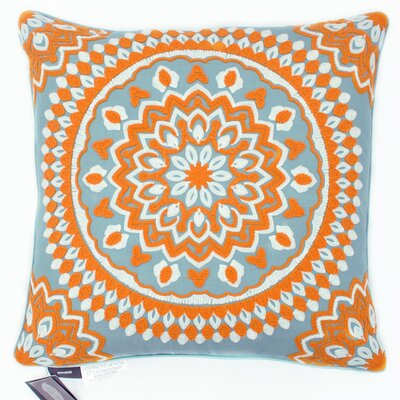 Medallion Chain Stitch Embroidered Decorative Throw Pillow Color: Blue/Orange